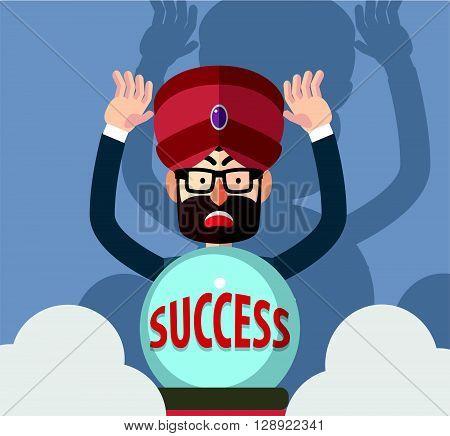 Business man success fortune teller .eps10 editable vector illustration design