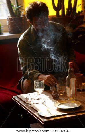 Smoking And Drinking Man