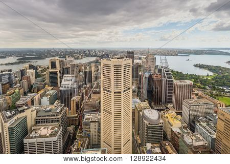 Sydney Australia - November 11 2014: Aerial view of Sydney CBD and harbour from Sydney Tower Eye in cloudy weather Sydney New South Wales Australia.