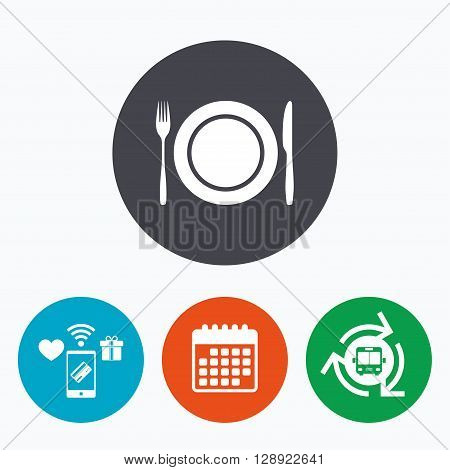 Plate dish with fork and knife. Eat sign icon. Cutlery etiquette rules symbol. Mobile payments, calendar and wifi icons. Bus shuttle.