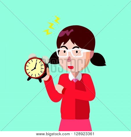 Girl clock tick tock .eps10 editable vector illustration design