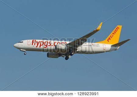 BUDAPEST, HUNGARY - MAY 7, 2015: Airliner of Pegasus Airlines landing at Budapest Liszt Ferenc Airport, May 7th 2015. Pegasus is a Turkish low-cost airline.