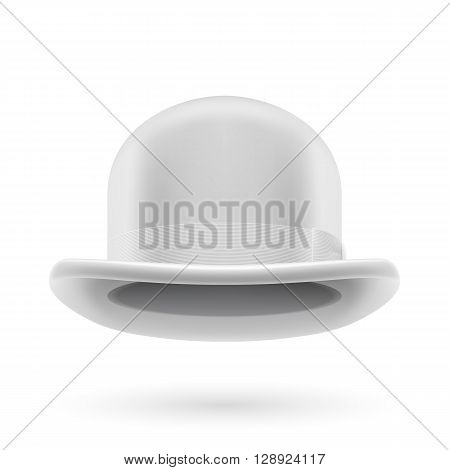 White round traditional hat with hatband on white background.