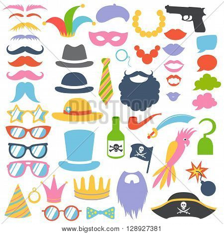 Props set. Party birthday photo booth props. Hat, mask, cylinder, moustache, beard, sunglasses, lips, speech bubbles. Vector illustration photo booth props. Pirate, hipster, clown, mafia props.