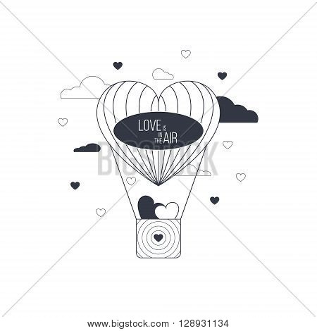 Love is in the air concept. Heart shaped balloon of love. Light happy love concept.