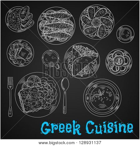 Chalkboard restaurant menu of greek cuisine symbol with chalk sketched pork gyros with french fries in pita bread, fried cheese saganaki with potatoes, grilled sardines and mussels, fried squid, fresh feta, scrambled eggs, tripe soup and cups of frappe an