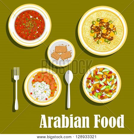 Various dishes of regional arab cuisines icon with beef and beans stew with rice, bread salad fattoush with fresh vegetables, hummus with olive oil, beans and spices, tomato and bell pepper warm salad matbucha and cakes basbousa with nuts. Flat style