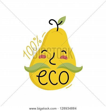 Eco icon. Cartoon organic icon. Eco food label. Natural product icon. Food icon. Bio icon. Organic tag. Eco label. Vegetarian restaurant menu logo. Organic icon. Ecology icon. Cartoon eco sign. Funny eco icon