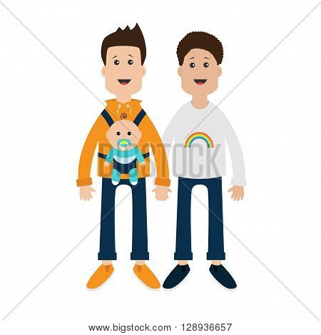 Gay family. Two fathers with baby boy son in baby carrier sling. Male couple holding hands. Rainbow on shirt. Greeting card. LGBT community. Cute characters. Flat design. Vector illustration.