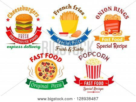 Colorful cartoon takeaway dishes symbols for fast food design with pizza and cheeseburger, boxes of french fries and onion rings, chicken leg and striped bucket of popcorn, framed by retro ribbon banners and stars