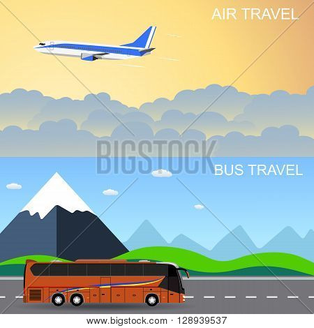 Travel panorama banners. flat style banners, flying plain above the sky, moving bus in front of mountains. vector illustration in flat design. travel and vacations concept
