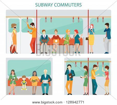 Commuters subway or passangers activities in subway interior subway train Flat design with character vector illustration.