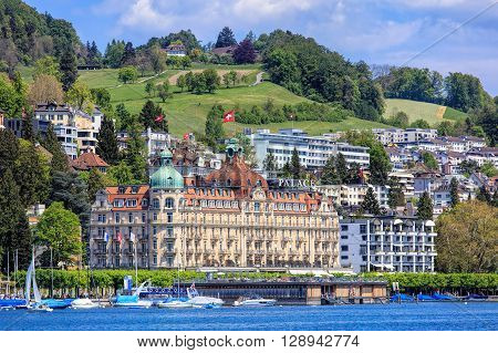 Lucerne, Switzerland - 8 May, 2016: Hotel Palace building. Hotel Palace is located on the Nationalquai quay, it was built between 1904 and 1906 and is officially designated as a cultural asset of national importance.