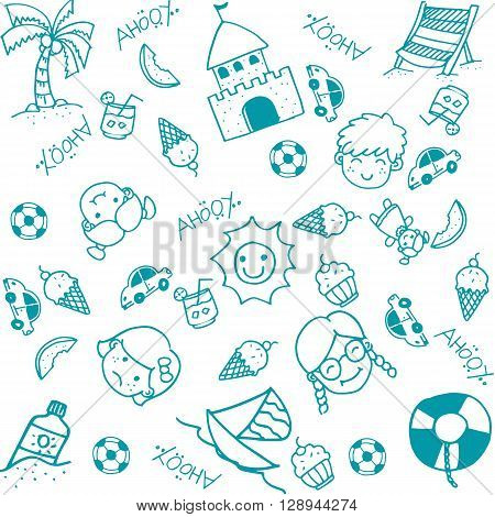 Beach doodle art for kids with white backgrounds