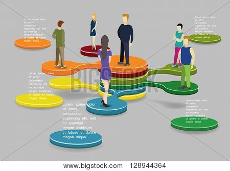 Social Network Vector Infographic illustration With people.