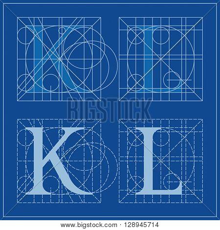 Designing Initials, letters K and L, blueprint.