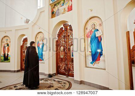 Lviv, Ukraine - April 27, 2016: Holy Week Passion And Death Of Jesus Christ. Priest Monk Franciscan
