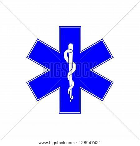 Medical symbol of the Emergency - Star of Life - icon isolated on white background. Vector icon. Emergency symbol. Blue, six-pointed star emblem for ambulances.