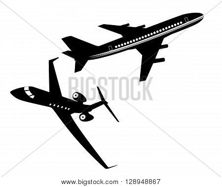two passenger aircraft flying in the air