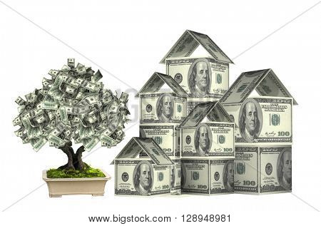 Three houses from dollars banknotes and money tree in pot.  Isolated on white background. 3d render