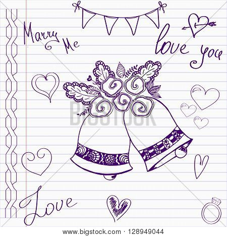 Wedding drawings. Sketch bells on notebook page.Hand drawn wedding template. Wedding invitation in doodle style.Merry me. Love. Wedding bells.