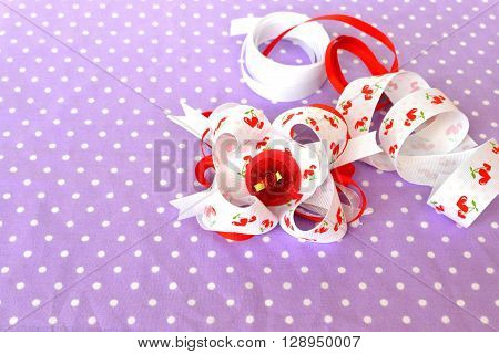 Hair accessory, red floral layered bow from ribbons, ribbons set ** Note: Soft Focus at 100%, best at smaller sizes