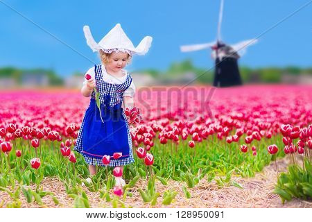Adorable curly toddler girl wearing Dutch traditional national costume dress and hat playing in a field of blooming tulips next to a windmill in Amsterdam region Holland Netherlands