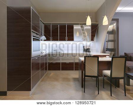 Zebrano kitchen trend with bar. 3D render