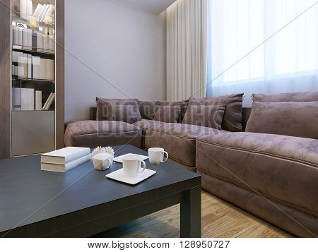 Living room with velvet furniture. Spacious room with sideboard exquisite furniture and beautiful but at the same time strict dark red table. 3D render
