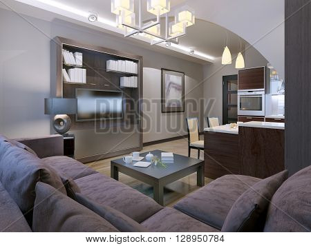 Contemporary living room with kitchen on background. 3D render poster