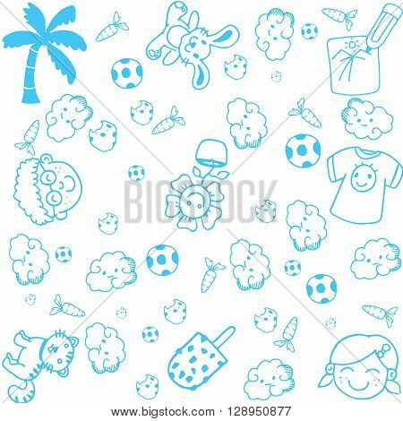 kids happy doodle art with white backgrounds