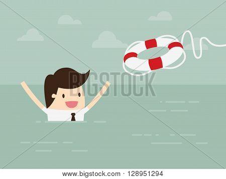 Businessman With Life Preserver. Concept Cartoon Illustration.