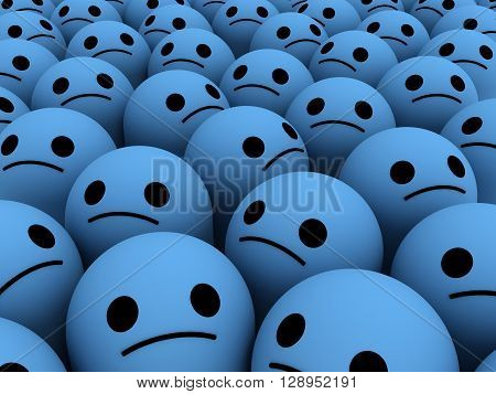 Many sad smiles. The concept unhappy, unsatisfied customers, users, clients.