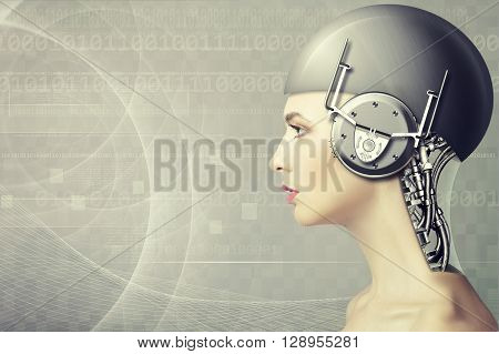 Cyborg woman abstract science and technology backgrounds