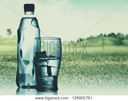 Bottled spring mineral water against abstract natural backgrounds