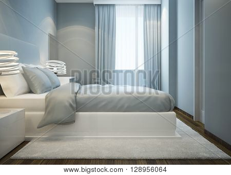Snowy white bed in blue bedroom. Master bedroom with double bed with soft mattress. White wool carpet. 3D render
