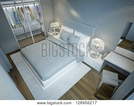Light blue bedroom with wardrobe. Dressed bed with blue and white pillows on snowy white carpet in contemporary bedroom. 3D render poster
