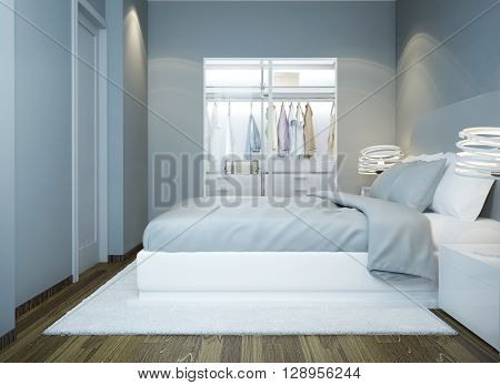 Contemporary bedroom design with light grey walls. 3D render poster