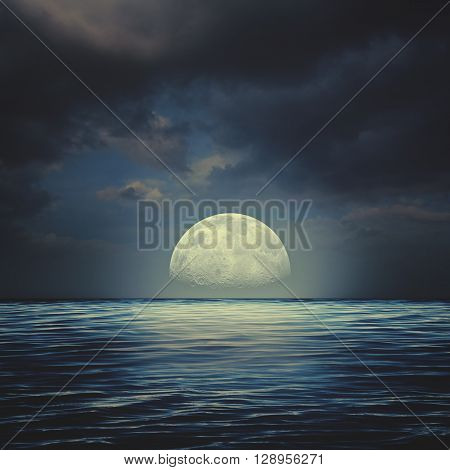 Sea surface under night stormy skies abstract natural backgrounds
