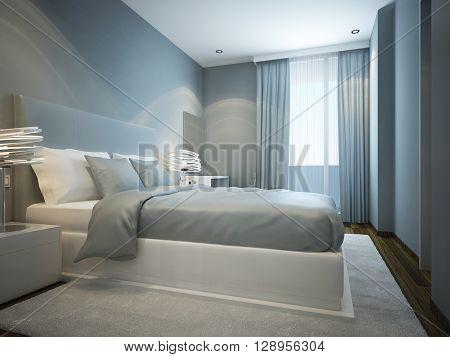 Idea of scandinavian bedroom with pale blue walls. 3D render poster