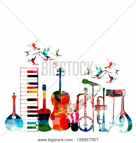 Colorful musical instruments background with hummingbirds. Vector
