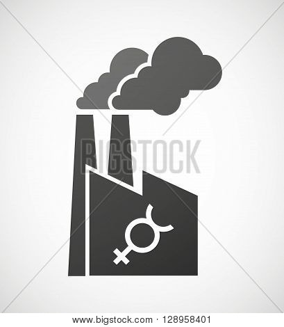 Isolated Industrial Factory Icon With  The Mercury Planet Symbol