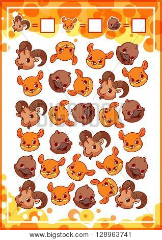 Education counting game for preschool kids with funny animals. How many ibexes kangaroos and platypuses do you see? Cartoon vector illustration.