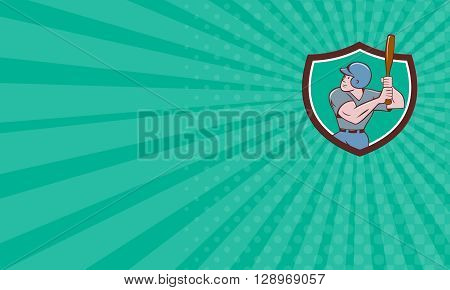 Business card showing illustration of an american baseball player batter hitter with bat batting set inside shield crest done in cartoon style isolated on background.