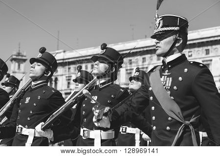 Teulie Military School Cadets In Milan, Italy