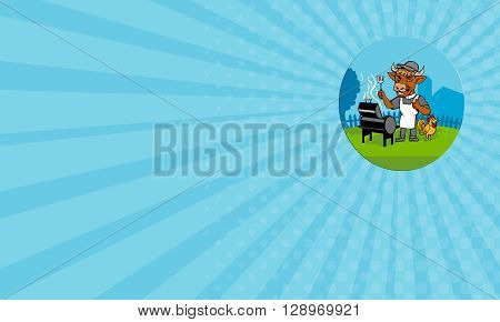 Business card showing illustration of a cow barbecue chef holding a spatula wearing a minister clerical collar hat and apron with grill or smoker and chicken rooster on side set inside oval shape done in caricature style.