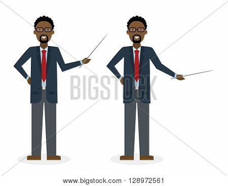 Businessman with pointer on white background. African american businessman standing isolated. Presenter and salesman. Smiling positive man.