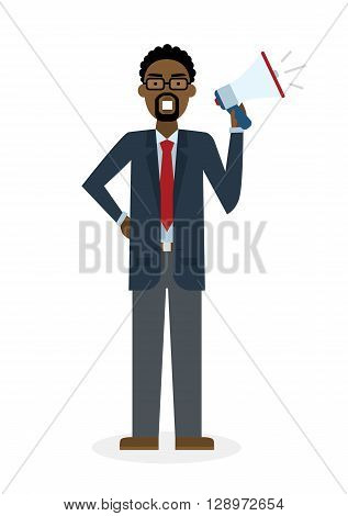 Business man with  megaphone on white background. Isolated african american businessman holding loudspeaker and book. Announcement and advertising. Attention please. Loud voice.
