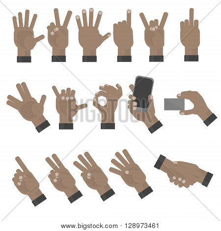 Swarthy hands gesturing set on white background. Shaka, holding a phone, card, handshaking, peace and victory pointing, rock, vulcan salute gesturing. Counting. Swarthy or african american.