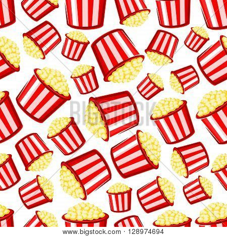 Takeaway popcorn background with cartoon seamless pattern of red and white striped paper buckets of sweet crispy popcorn. Weekend entertainment, leisure activity or cinema fast food design usage